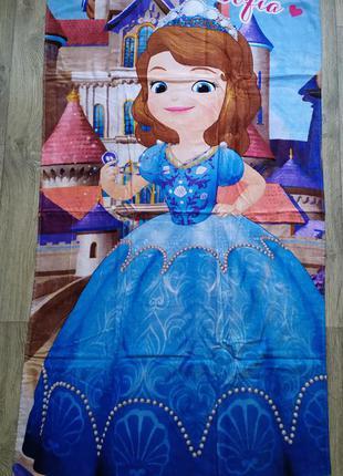Пляжное детское полотенце для девочки с софией