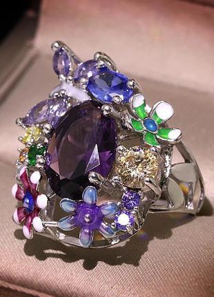 Шикарное праздничное кольцо,есть серьги