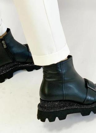 Невероятно шикарные ботиночки на байке, тракторная подошва,,танкетка.