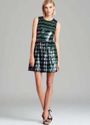 Платье расшитое пайетками от french connection, xs-s блестящее нарядное
