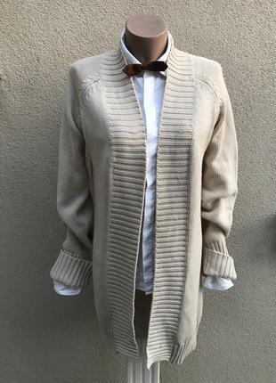 Кардиган,кофта без застежки,вязаный,трикотажный пиджак,жакет удлиненный zara хлопок