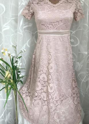 Пудровое 🎀гипюровое (кружевное) платье abercrombie fitch, s-m, 42-44, eur 36-38.