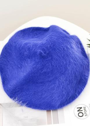 Женский мохеровый берет синего цвета