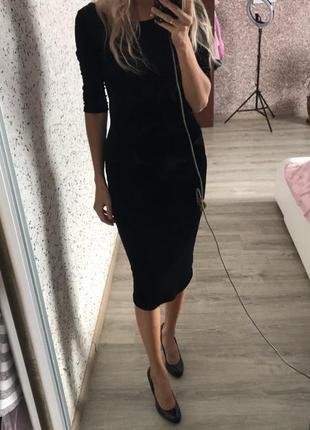 Шикарное велюровое платье! миди ! италия!