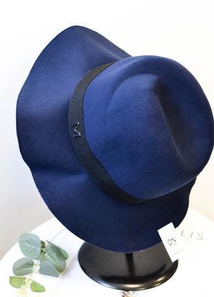 Стильная женская фетровая шляпа федора синего цвета