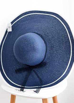 Стильная женская широкополая пляжная шляпа синего цвета