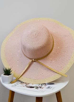 Стильная женская широкополая пляжная шляпа розового цвета