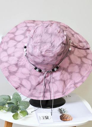 Стильная женская летняя хлопковая шляпа розового цвета