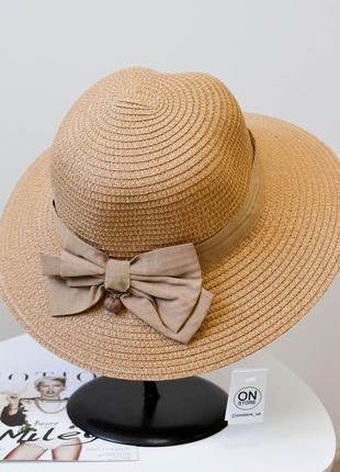Стильная женская летняя соломенная шляпа коричневого цвета