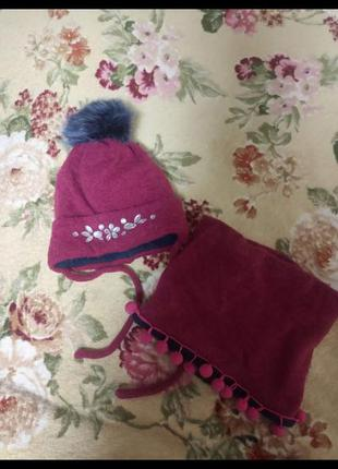 Зимний набор шапка и снуд