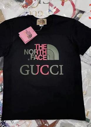 Стильная футболка в стиле the north face & gucci