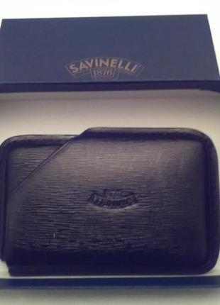Визитница savinelli-италия.безупречный бренд.100%кожа.цвет черный