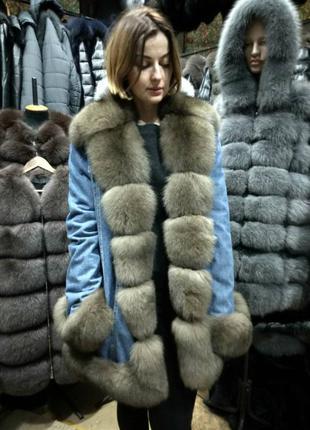 Парка на натуральном меху, куртка меховая, зимняя парка, джинсовка