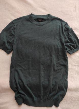 Вязаная футболка кофточка джемпер свитер с короткими рукавами котон шёлк