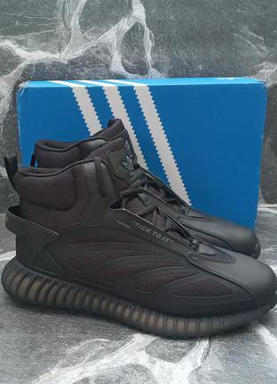 Мужские зимние кроссовки adidas yeezy boost winter кожаные,черные