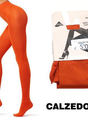 Новые итальянские колготки calzedonia 2 s плотные матовые из микрофибры - оранжевые