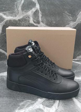 Мужские зимние ботинки puma suede winter кожаные, черные