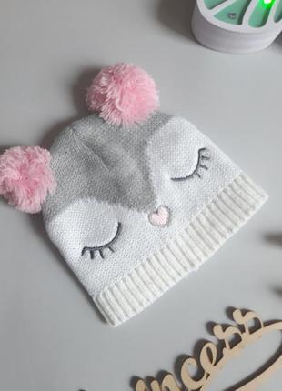 Демісезонна шапочка  совушка на дівчинку 3-6 місяці