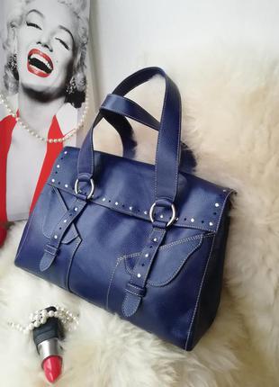 Эффектная яркая деловая кожаная сумка, натуральная кожа, цвет электрик, синий