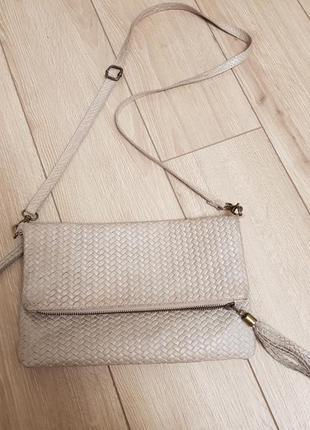 Кожаная сумка кроссбоди, сумка клатч, сумка через плечо, сумка с плетением