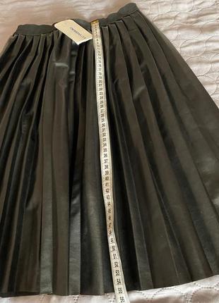 Качественная юбка эко- кожа плисе миди xs s