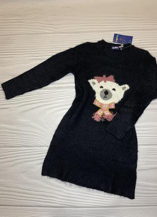 Тёплое вязаное платье туника с мишкой