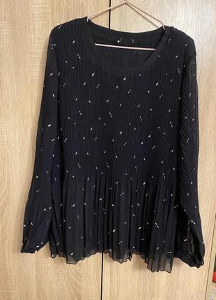 Блуза гофрированная с длинным рукавом
