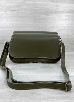 Женская сумка багет хаки сумка оливковая сумка наплечная сумка хаки клатч багет