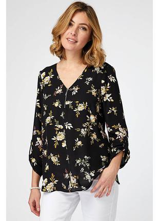 Красивая цветочная блуза с молнией на груди р.24