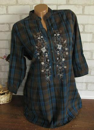 Блуза в клетку с вышивкой orsay eur 38