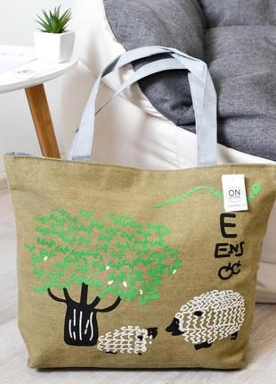 Женская летняя пляжная сумка sheep цвета хаки