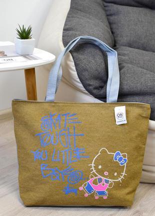 Женская летняя сумка hello kitty цвета хаки