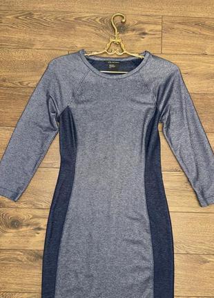 Стильное эластичное стрейчевое синее короткое платье в обтяжку s