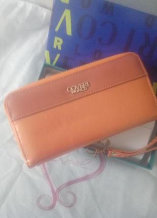 Стильный оранжевый кошелек на молнии, сумочка, барсетка италия.