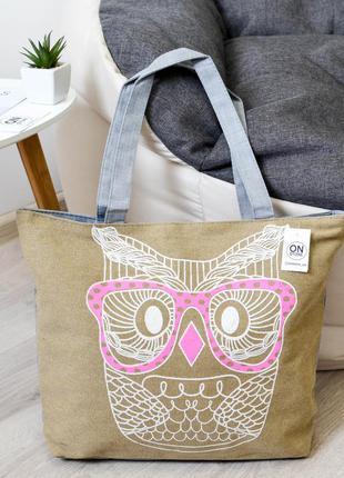 Женская летняя пляжная сумка owl цвета хаки