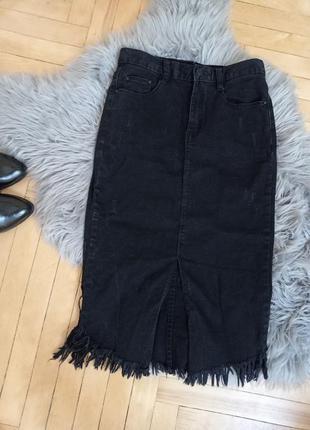 Юбка, длинная юбка, чёрная юбка, юбка миди, джинсовая юбка, юбка с бахромой, юбка стрейч с вырезом