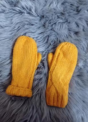 Варежки перчатки тёплые варежки, тёплые перчатки, жёлтые