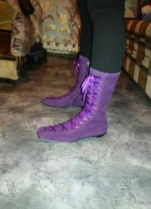 Шикарные подиумные ботинки с атласной шнуровкой 39 размер