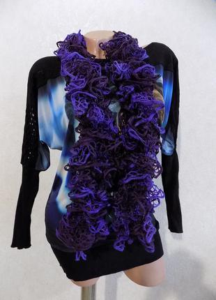 Шарф нарядный фиолетовый ажурная вязка