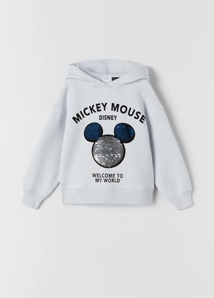 Світшот mickey mouse з двосторонніми паєтками, zara, оригінал, з німеччини!