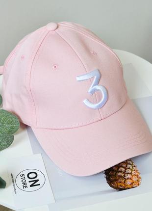"""Модная кепка """"3"""" розового цвета"""