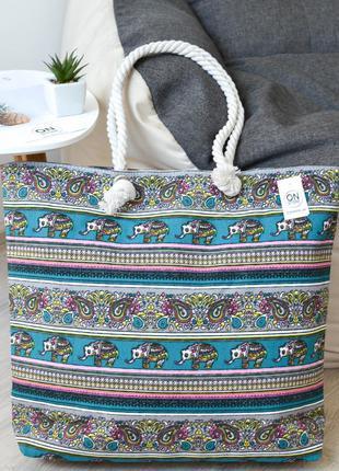 Женская летняя пляжная сумка elephants зеленого цвета