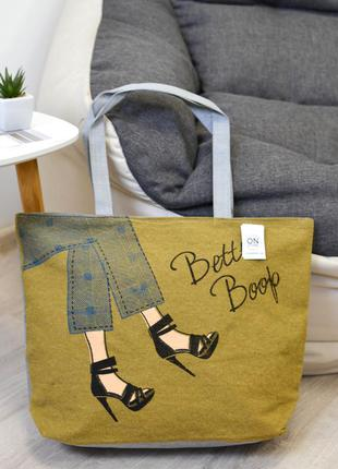 Женская летняя сумка shoes цвета хаки