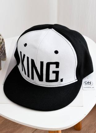 Модная кепка рэперка king черного с белым цвета