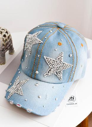 Модная джинсовая кепка stars светлого синего цвета