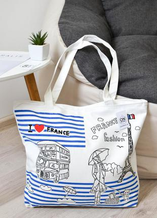 Женская летняя пляжная сумка france белого цвета