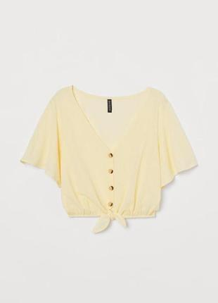 Желтая футболка на пуговицах , топик h&m divided