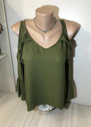 Блуза хаки свободная с рюшами s/m