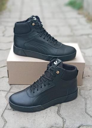 Зимние мужские ботинки puma suede winter кожаные, черные