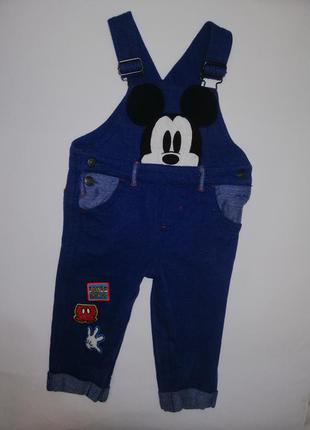 Комбинезон, джинсовый комбезик, комбинезон с микки маус , штаны, джинсы